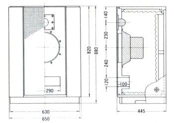 詳細寸法図と断面図T